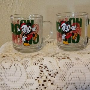 2 EUC GLASS MICKEY MOUSE COFFEE MUGS